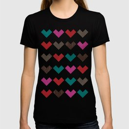 leather geometric love on dark purple T-shirt