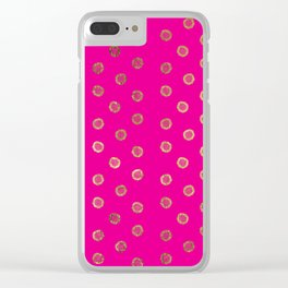 Elegant and Girly Faux Gold Glitter Dots Hot Pink Clear iPhone Case