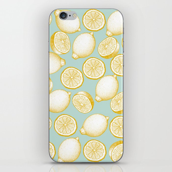 Lemons On Turquoise Background iPhone Skin