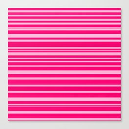 Bright hot and pale pink abstract horizontal linework Canvas Print