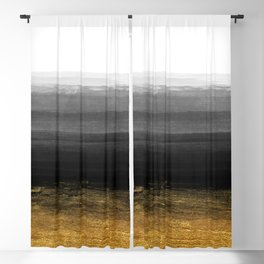 Black and Gold grunge stripes on clear white backround I - Stripes - Striped Blackout Curtain