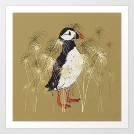 Puffin & Botanical Illustration Art Series Art Print