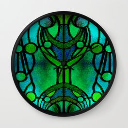 Green and Aqua Art Nouveau Stained Glass Art Wall Clock