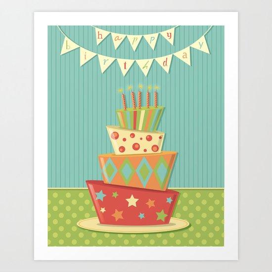Happy Birthday Bunting Crazy Fun Cake Art Print