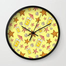 Hand Drawn Starfish and Cocktail Summer Pattern Wall Clock