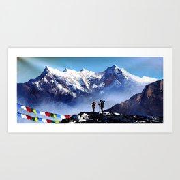 Panoramic View Of Ama Dablam Peak Everest Mountain Art Print