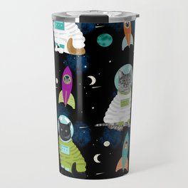 Space Cats pet portraits cute cat gifts cat lady outer space cadet rockets Travel Mug