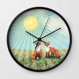 2 foxes Wall Clock