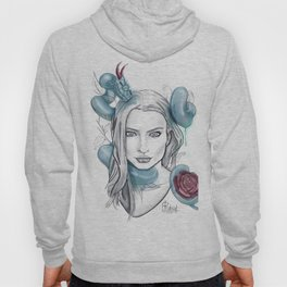 sketch girl whit blue snake and flower Hoody