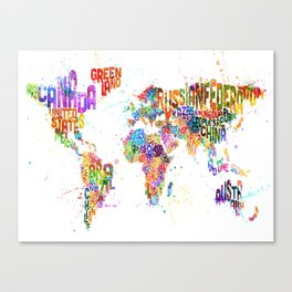 Paint Splashes Typography Text World Map Canvas Print