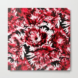Red Black Abstract Flower Pattern  #Dahlias #Flowers Metal Print
