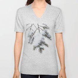 Snowy Spruce Needles 6 Unisex V-Neck