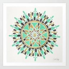 Mint & Gold Mandala Art Print
