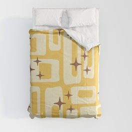 Retro Mid Century Modern Abstract Pattern 576 Yellow Brown Comforters