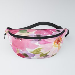 Watercolor Flowers Pink Fuchsia Fanny Pack