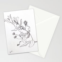 Flower Illustration Print in black and white Stationery Cards