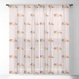 Hot Dog Weiner Dog Dachshund Sheer Curtain