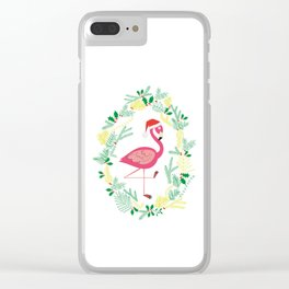 FLAMINGO CHRISTMAS WREATH Clear iPhone Case