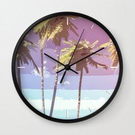 Retro Coconut Trees Art Wall Clock