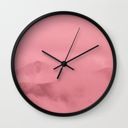 Rose Quartz Fog Surrounding Anchorage Mountains Wall Clock