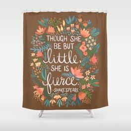Little & Fierce on Kraft Shower Curtain