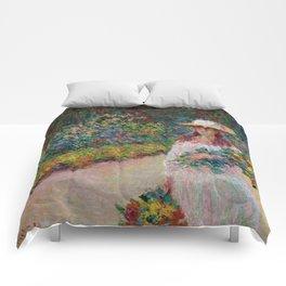 """Claude Monet """"Jeune fille dans le jardin de Giverny"""" Comforters"""