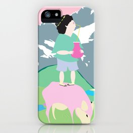 The boy and the mountain pig iPhone Case