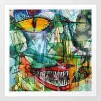 cheshire cat Art Prints featuring Cheshire by Eliya Stein