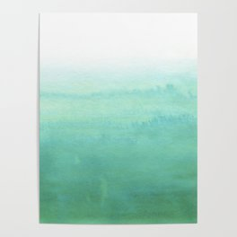 Modern hand painted green teal aqua watercolor ombre motif Poster