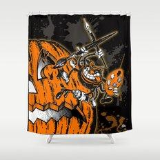 Halloween Pumpkin & Spider Artist Hepcat Shower Curtain
