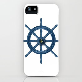 Ship Wheel Blue Rudder iPhone Case