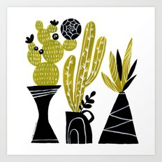 GREEN AND BLACK CACTUS Art Print