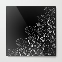 Delicate and Abstract Black and White Leaf Decor Metal Print