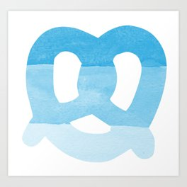 Oktoberfest Bavarian October Beer Festival Pretzel in Bavarian Blue Art Print