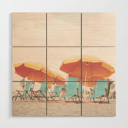 Beach Chairs and Umbrellas Wood Wall Art
