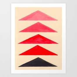 Vintage Scandinavian Red Geometric Triangle Pattern Art Print