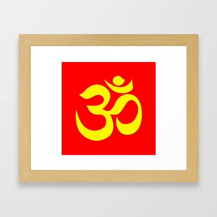 Yellow Aum Om Reiki Symbol On Red Background Framed Art Print By