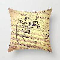 beethoven Throw Pillows featuring Beethoven Music by Richard Harper