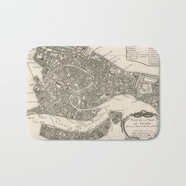 Vintage Map of Venice Italy (1764) Bath Mat