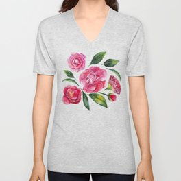 Watercolor camellia Unisex V-Neck