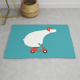 Polar bear on scooter Rug