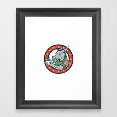Army Sergeant Donkey Coffee Circle Cartoon Framed Art Print
