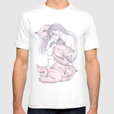 Sleeping Foxes White Mens Fitted Tee MEDIUM