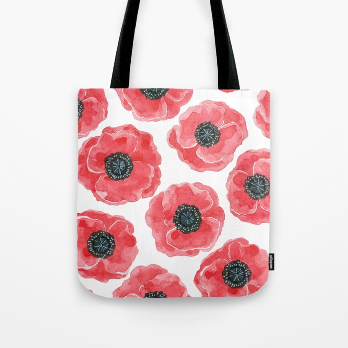 Poppies Watercolor Tote Bag