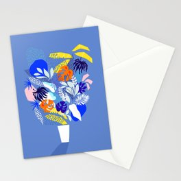 Keep Growing - Tropical plant on Blue Stationery Cards