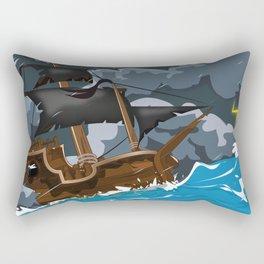 Pirate Ship in Stormy Ocean Rectangular Pillow