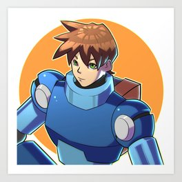 Blue Armor Boy Art Print