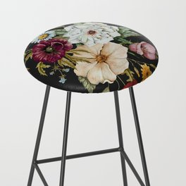 Colorful Wildflower Bouquet on Charcoal Black Bar Stool