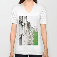 new orleans V-neck T-shirts featuring New Orleans Graveyard  by Carey Lee Designs