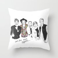 one direction Throw Pillows featuring One Direction by Stephanie Recking